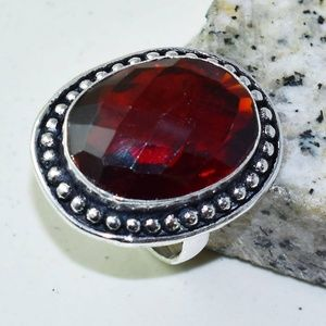 Jewelry - Garnet Sterling Silver .925 Handmade Ring